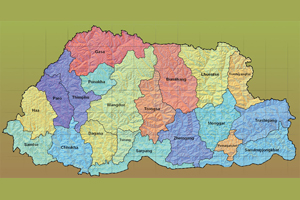 bhutan_map_dzongkhag_contour_tropographical